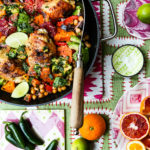 Spicy Roasted Chicken with Sweet Potatoes, Blood Oranges and Avocado