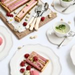 Rhubarb and Pistachio Frangipane Tart with Raspberry and Rose Sorbet