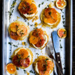 Caramelised Blood Orange, Blood Orange Curd and Mascarpone Tarts