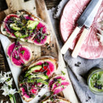 Toasted Sourdough with Watermelon Radish, Hummus and Avocado